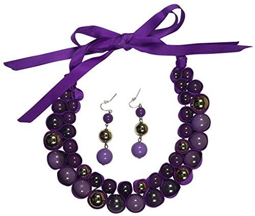 Isabella's Journey Women's Fashion Purple Passion Ribbon Choker Necklace Earrings Set, IJJWPP 12