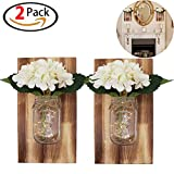 Originalidad Rustic Hanging Mason Jar Sconces LED Lights, Wall Wooden, Silk Hydrangea Flower, LED Strip Lights, Mason Jar Lights, Rustic Wall & Home Decor(White Flowers)