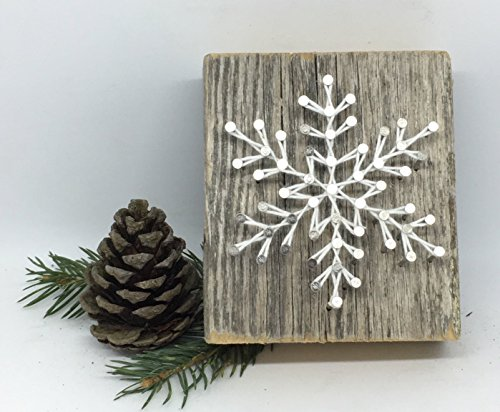 Sweet and small rustic snowflake string art wooden block - A unique gift for Birthdays, Christmas, Weddings, Anniversaries and House Warming gifts, Perfect for ski cabins. (Homemade Christmas For Teacher Gifts)