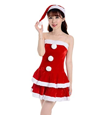 1d52354ca14b COMVIP Women's Sexy Santa Costume Christmas Dress Miss Clause Suit Red