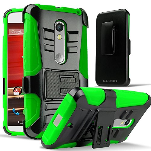 Motorola Moto X Style (Pure Edition) 2015 Phone Case, Customerfirst - Full Body Rugged Holster Smartphone Cover with Swivel Belt Clip (Not for Moto X Previous Generations) (Holster Green) (Cover Cimo Smart)