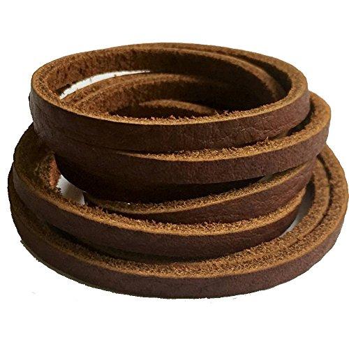39'' Flat Genuine Rawhide Leather Strip Cord String for DIY Men Necklace Bracelet Craft (Light Brown - 1pc)