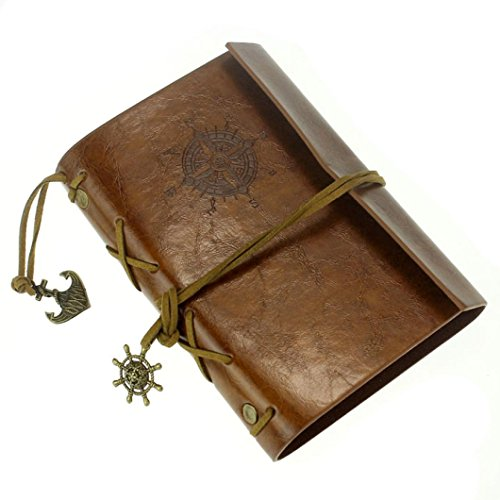 Vintage Leather Cover Journal Diary String Nautical (Red) - 5