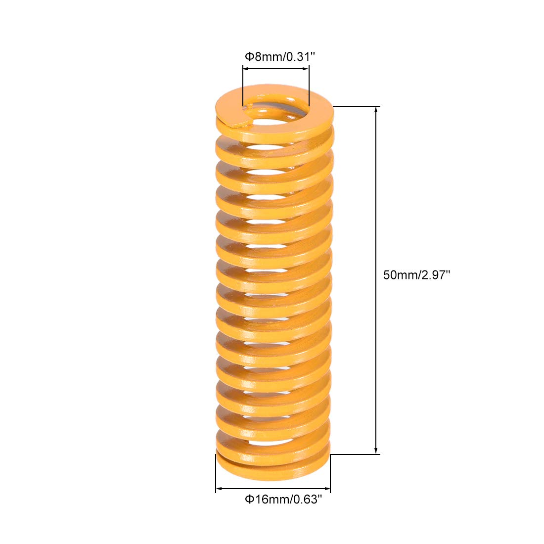 sourcing map 30mm OD 40mm Long Spiral Stamping Light Load Compression Mould Die Spring Yellow 2Pcs