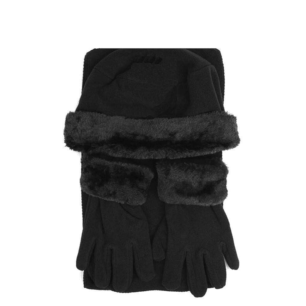 Nolia Damen Winter-Set mit M/ütze und Schal und Handschuhen aus Kunstfell 3-teilig