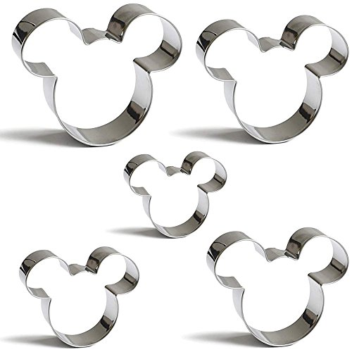 Mouse Cookie Cutters Set Mickey Mouse Face Shape Biscuit Pastry Stainless Steel Mold Set of 5 by PAIPIE