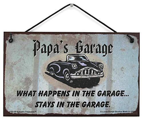Egbert's Treasures 5x8 Sign with Classic Car Saying Papa's Garage What Happens in The Garage. Stays in The Garage. Decorative Fun Universal Household Signs from