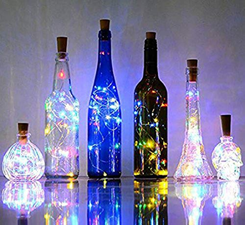 (8 Pack) RENYD 2m/7.2 feet,20 LEDs/per Wine Bottle String Starry Fairy Lights,Pumpkin Lantern Decorative Lights,Copper Wire Bottle Lights for Party,Decoration, Christmas, Halloween-Multicolor