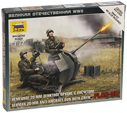 (Zvezda Models 1/72 German 2cm Flak 38 With Crew New Tooling Snap Kit)