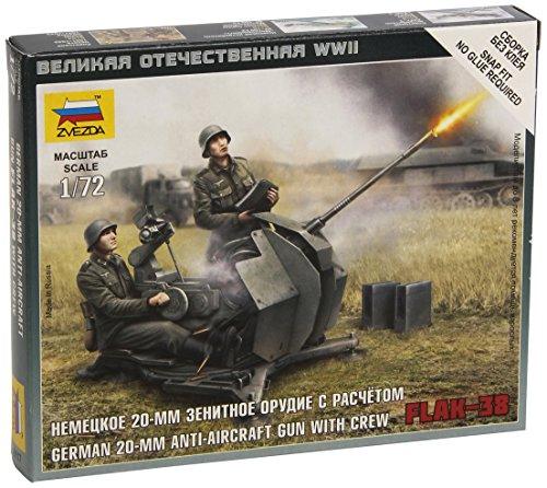 Zvezda Models 1/72 German 2cm Flak 38 With Crew New Tooling Snap Kit
