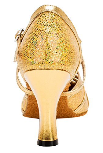Latin Heel Closed Ankle 8cm Flash Starp Toe Evening Joymod Gold Modern Wedding MGM Synthetic Womens Ballroom Glitter Shoes Tango Dance fwOxH