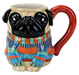 The Boston Warehouse Hand-Painted 18-Ounce Earthenware Pugly Pug Sweater Mug is a quirky and fun way to enjoy your favorite beverages and start your morning off with major cute factor! This hand-painted mug is a fabulous addition to your coff...
