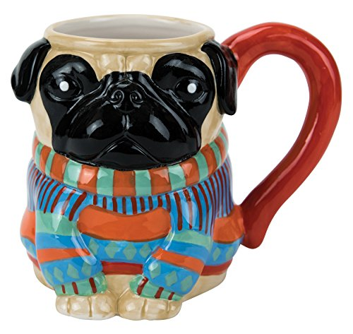 (Mug, Pugly Sweater Collection, 18 oz. Capacity, Hand-painted Earthenware by Boston Warehouse)