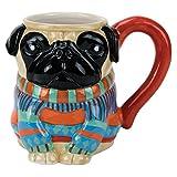 Hand-Painted Earthenware Pugly Pug Sweater Mug by Boston Warehouse