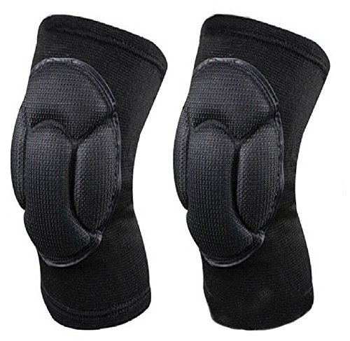 1 Pair(2PCS) Thicken Knee Pads Brace Support Sleeve Sports Sponge Knee Guards Protective for Mountaineering Volleyball Martial Arts Kick Boxing Muay Thai Wrestling by Elandy