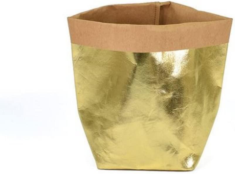 Eco Friendly Urban Chic Yellow Gold Decorative Washable Kraft Paper Container for Storage Organizer Toy Plant 6x6x11