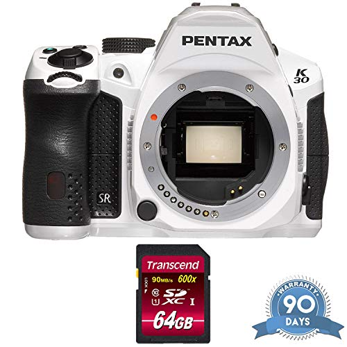 (Pentax K-30 DSLR Camera (Body Only) (Crystal White) with Memory Card - (Renewed))