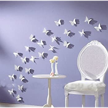 Amazoncom Pcsitems D Butterfly Golden Color Stainless - Butterfly wall decals 3d