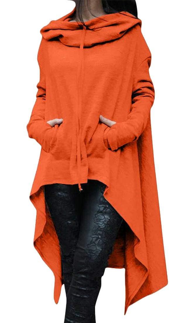 Etecredpow Womens Classical Irregular Solid Color Long Sleeve Mid Long Autumn Winter Hooded Sweatshirts