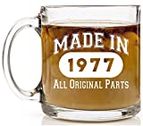 Shop4Ever Made in 1977 Novelty Glass Coffee Mug Tea Cup Gift ~ Birthday ~ (13 oz., Clear)