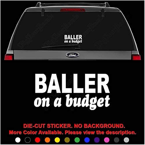 JDM Baller On Budget Die Cut Vinyl Decal Sticker for Car Truck Motorcycle Vehicle Window Bumper Wall Decor Laptop Helmet Size- [15 inch] / [38 cm] Wide || Color- Gloss Black (Best Budget Motorcycle Helmet)
