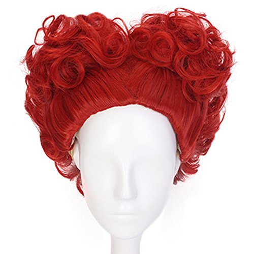 Anogol Hair Cap+Red Cosplay Wig Short Curly Wigs Synthetic Hair for Queen Costume ()