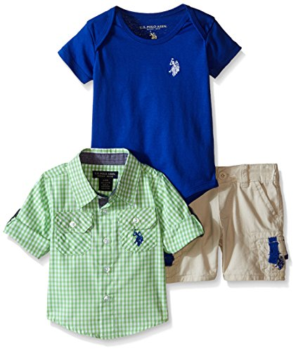 U.S. Polo Assn. Boys' 3 Piece Gingham Check Sport Shirt, V-Neck T-Shirt and Twill Cargo Short, Neon Green/Blue, 3-6 Months