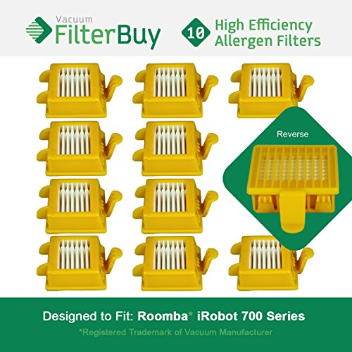 10 FilterBuy iRobot Roomba 700 Compatible Filters. Designed by FilterBuy to replace iRobot Roomba 700 Series Vacuum AeroVac Filters by FilterBuy