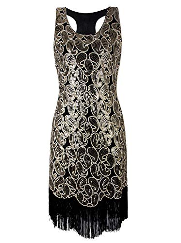 VIJIV 1920s Gastby Sequined Embellished Fringed Paisley Flapper Dress Gold L