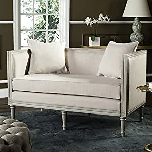 Safavieh Home Collection Leandra French Country Beige and Rustic Grey Settee