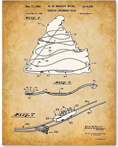 Disneyland Matterhorn Bobsled Ride - 11x14 Unframed Patent Print - Makes a Great Gift Under $15 for Disney/Disneyland Fans