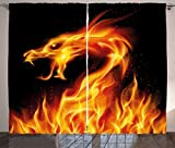 Ambesonne Dragon Curtains, Abstract Fiery Creature on Black Background Legendary Fantastic Asian Illustration, Living Room Bedroom Window Drapes 2 Panel Set, 108 W X 84 L Inches, Orange Black