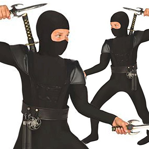 Boys Stealth Black Ninja Japanese Fancy Dress Costume - 8 Piece Quality Costume