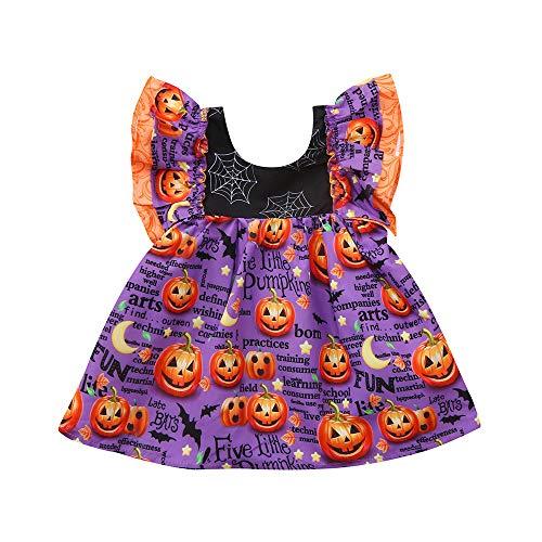 Halloween Costume Outfits AmyDong Toddler Infant Baby Girls Pumpkin Print Dress (Purple,90) -