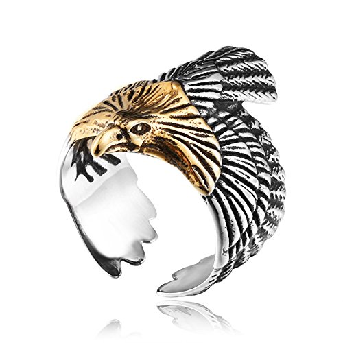 4ZOM Freedom - Vintage Silver American US Eagle Stainless Steel Men Ring Size - Eagle Retro