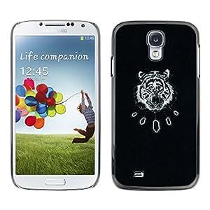 Estuche Cubierta Shell Smartphone estuche protector duro para el teléfono móvil Caso Samsung Galaxy S4 I9500 / CECELL Phone case / / black tiger vintage art leather pattern /