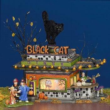 Department 56 Snow Village Black Cat Diner Gift Set 55319
