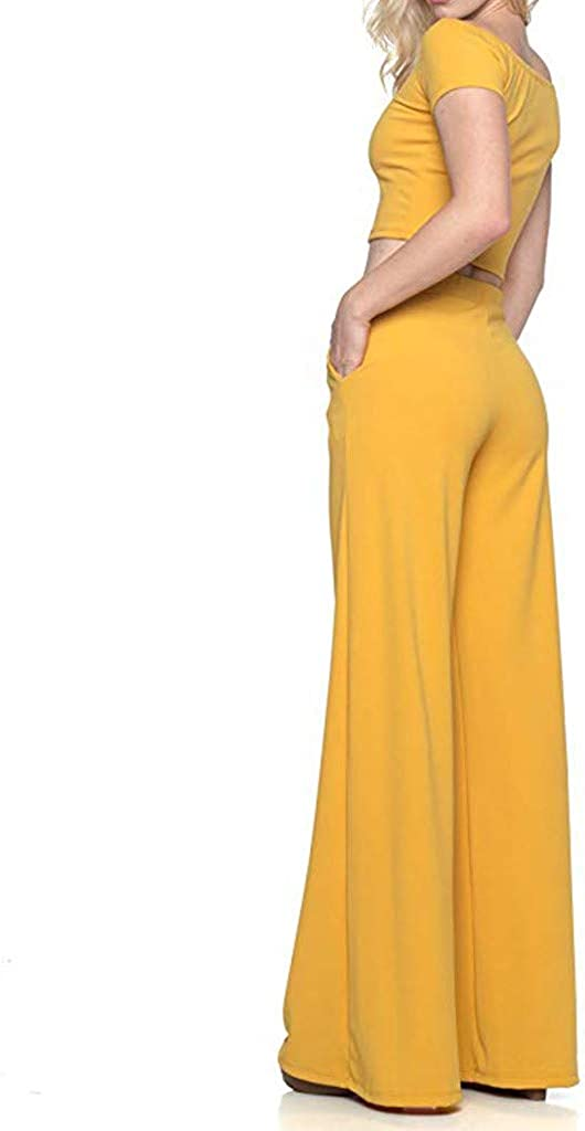 DedSecQAQ 2020 Womens High Waist Fashion Solid Loose Wide Long Trousers Flowing Palazzo Pants Women Pants for Work