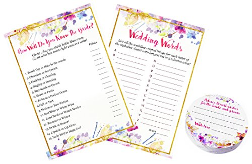 3 Pack | 2 Bridal Shower Games and Advice Cards | How Well Do You Know The Bride Bridal Shower Game (50 Sheets) | Wedding Words game (50 Sheets) | Well Wishes and Wedding advice cards - 50 Count