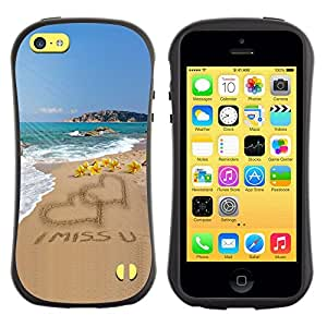 All-Round híbrido de goma duro caso cubierta protectora Accesorio Generación-I BY RAYDREAMMM - Apple iPhone 5C - I Miss U Sand Love Heart Beach Ocean Summer