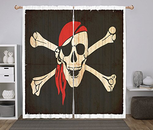 2 Panel Set Window Drapes Kitchen Curtains,Pirate Flag of Tierra del Fuego Argentina in Grunge Antique Historical Army Green Beige Vermilion,for Bedroom Living Room Dorm Kitchen Cafe
