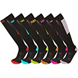 Womens 6-Pack Colorful Fun Block Pattern Knee High Graduated Compression Socks