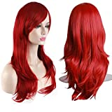 AKStore Women's Heat Resistant 28-Inch 70cm Long Curly Hair Wig with Wig Cap, Red