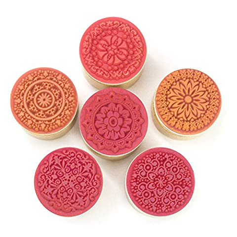 Set of 6 Wooden Round Wood Rubber Stamp with Floral Flower Pattern for Kids Scrapbooking Card - Products Rubber Stamp