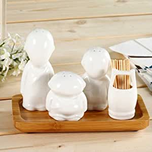 BoatShop White Ceramic Three Monks Caster Spice Jar Seasoning Bottle Shaker