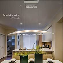 FOSHAN MINGZE Stylish Contemporary LED Pendant Light with Adjustable Height,Chrome Finished Chandelier Ceiling Light Fixture for Dining Room/Kitchen Island/Living Room/Restaurant/Office