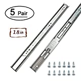 5 Pairs Soft-Close Full Extension Drawer Slides 18 inch – LONTAN 4502S3-18 Ball Bearing Heavy Duty Drawer Slides 100 LB Capacity for Slide for Side Mount Drawers