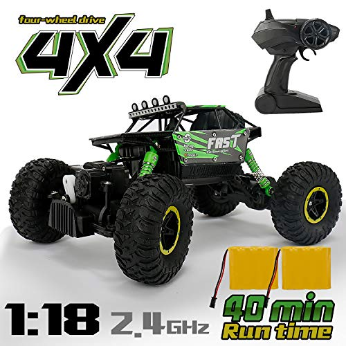 RC Car for Boy Toy, Nqd 1: 18 Dual Motors Remote Control Truck, 2.4Ghz 4WD Off Road Remote Control Car with Two Rechargeable Batteries, Buggy Hobby Toy Chritmas Gifts for Kids & Adults