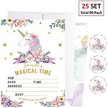 amazon com 36 unicorn birthday party invitations with envelopes