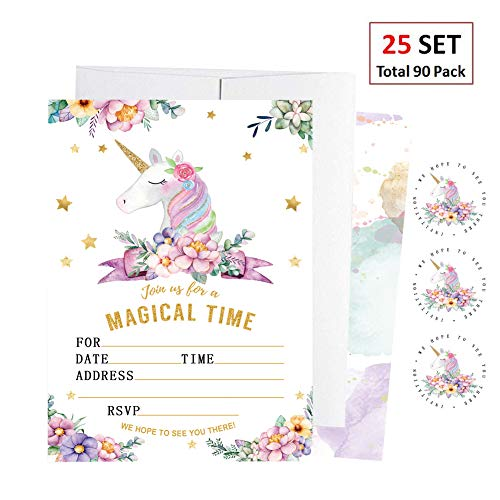 EXIJA 25 Pack Glitter Unicorn Invitations with 25 Envelopes and 40 Unicorn Stickers, Unicorn Party Supplies, Unicorn Party Invitations for Girls Birthday ()